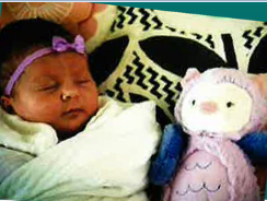 baby wrapped in a blanket, sleeping next to a stuffed-animal owl